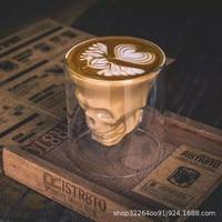 250ml Trendy bicchiere da teschio a doppio strato tazza da caffè personalità creativa tazza da Latte bicchiere da vino rosso whisky trasparente