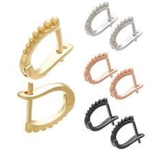 ZHUKOU-boucles d'oreilles en laiton délicat, deux paires, 12x14mm, couleur or/argent, accessoires à crochet, bricolage-même, boucles d'oreilles modèle: VE97