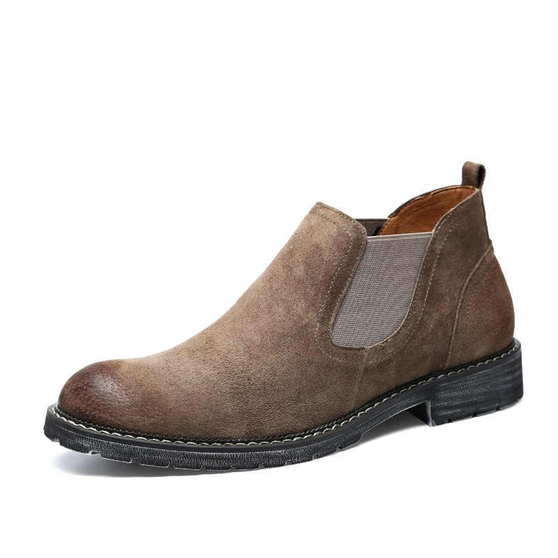 Chelsea automne hiver chaud hommes bottes de luxe classique en cuir véritable cheville hommes bottes mode daim travail homme chaussures