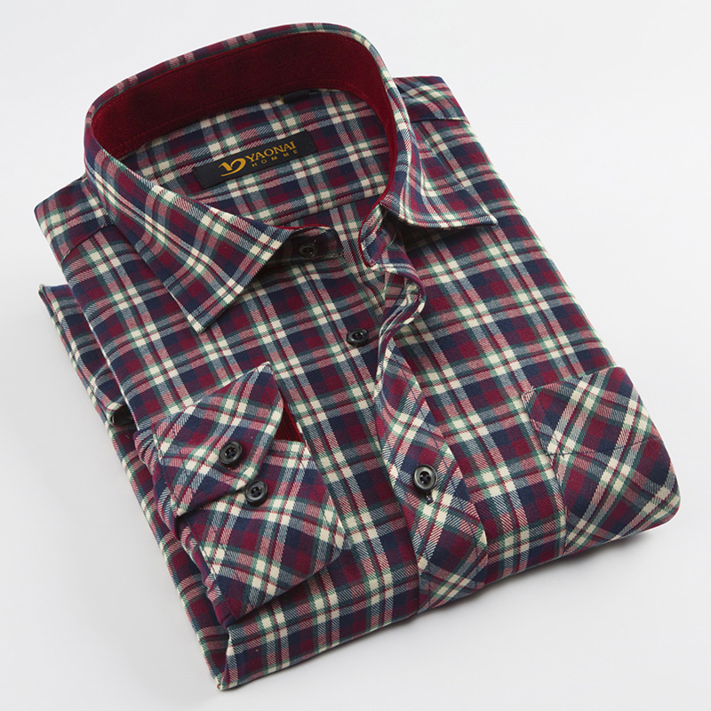Men's Thick Brushed Plaid Checked Shirt Single Patch Pocket Regular-fit Long Sleeve Soft Warm Casual Colorful Work Shirts