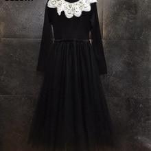 Вязаное платье, осенне-зимнее Стильное женское платье с аппликацией и вышивкой, сексуальное Сетчатое платье из тюля в стиле пэчворк с длинным рукавом, Черное длинное платье-свитер