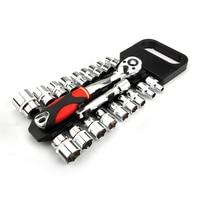 Crv-llave de tubo de trinquete reversible de liberación rápida, herramientas con estante colgante, juego de enchufes de accionamiento de 1/4