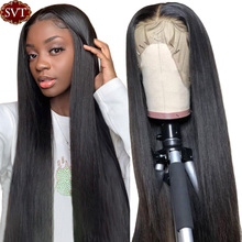 Wigs Human-Hair Frontal Lace SVT Straight for Black Women Swiss Natural-Color 8-26-Inch