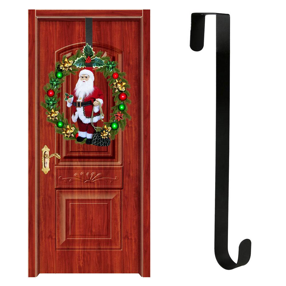 Door Iron Hook Hangers Removable Storage Rack Organizer For Christmas Wreath Coat Bag Hat Robe