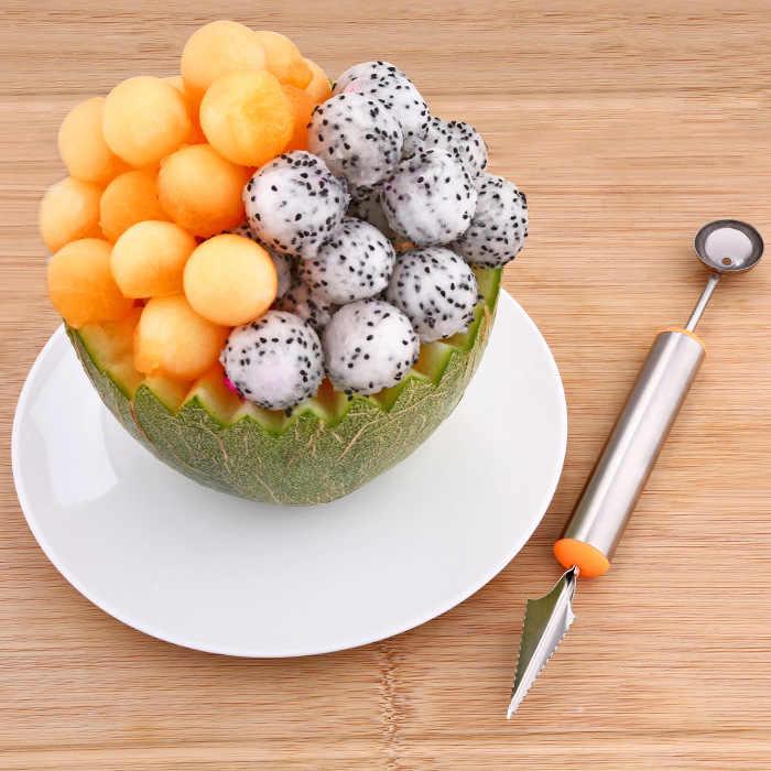 304 Stainless Steel Dual Purpose Fruit-Pemotongan Perangkat Xi Gua Shao Buah Segmentasi Melon Baller Kreatif Dapur Buah Carv