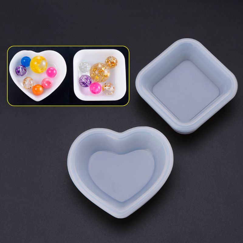 Silicone Mold Heart Square Molds DIY Jewelry Making Cake Decoration Crafts Disc Plate Epoxy Resin Decorative Geometric Charm