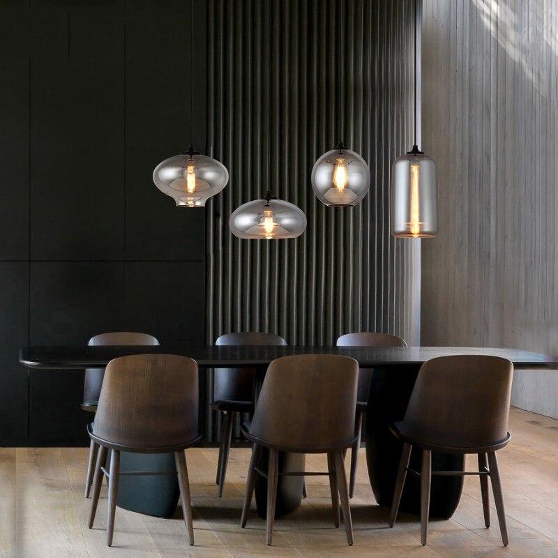 Nordic Retro Glass Pendant Lights Lamp LED Pendant Lighting Living Room Kitchen Dining Room Bedroom Loft Home Deco Hanging Lamp