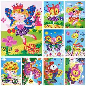 3D EVA Children Puzzle DIY Foam Mosaic Crystal Stickers Art Cartoon Creative Educational Toys For Kid 12 Background Style Select