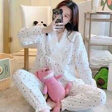 2217# 100% Cotton Maternity Nursing Sleepwear Summer Thin Loose Breastfeeding Pajamas Suits Pregnanc