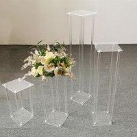 Набор из 4 размеров Свадебная напольная ваза прозрачный акриловый грандиозные свадебные декоративные вазы цветок Стенд фон рамка колонна с...