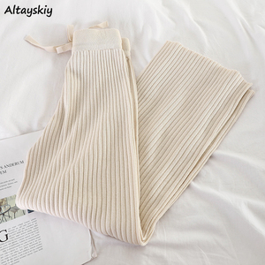 Pants Women Wide Leg Elastic Waist Pleated Knitted Solid Simple Casual Ankle-Length Korean Fashion Trendy Daily All-match Womens