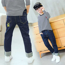 DIIMUU Fashion Boys Jeans Kids Straight Denim Pants Baby Clothes Casual Elastic Letter Print Long Trousers Child 5-13Y
