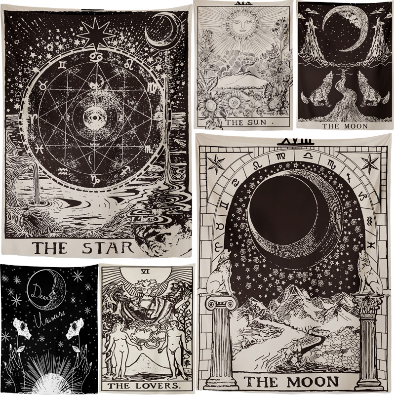 Better Quality The Moon Star Tapestry Wall Hanging Astrology Divination Bedspread Beach Mat