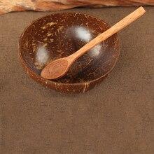 Cuenco de coco Natural con cuchara, ensalada de frutas, cuenco de arroz, cuenco de madera para frutas, decoración artesanal, cuenco de cáscara de coco creativo ensaladera cuenco coco