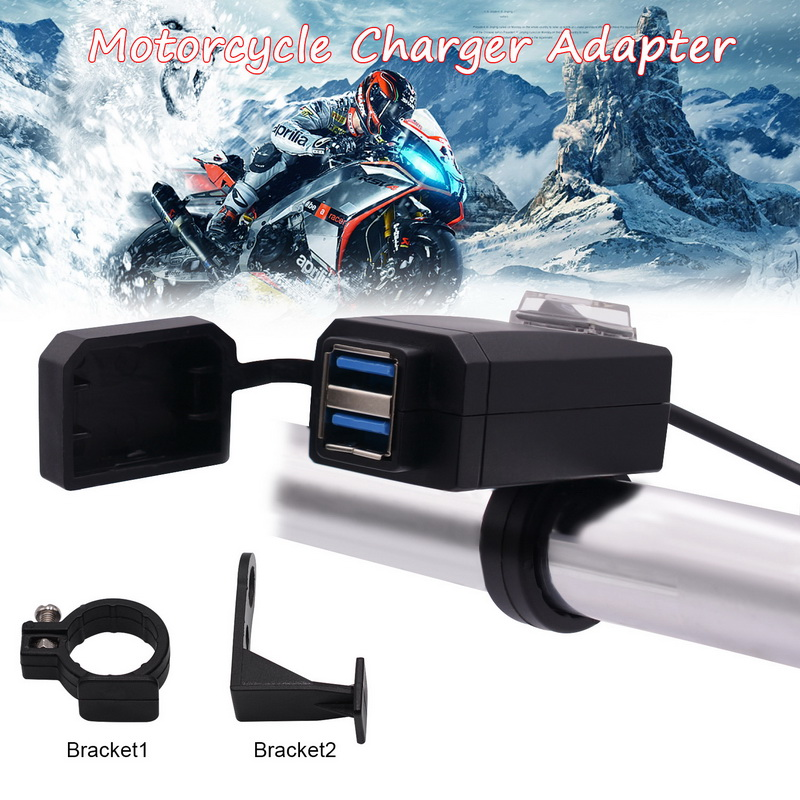 Universal QC3.0 USB Motorcycle Charger Waterproof Dual USB Quick Change 12V Power Supply Adapter Phone Mobile Socket