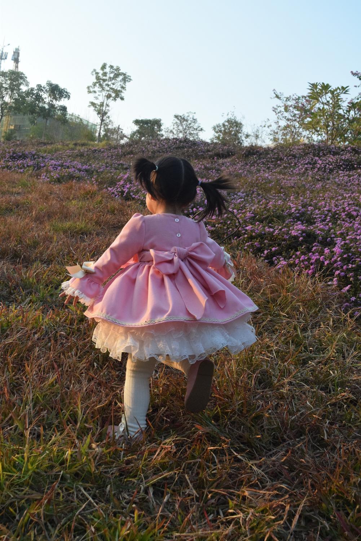 Girl Winter Spring Autumn Wool Pink Long Sleeve Vintage Spanish Lolita Princess Ball Gown Dress for Girl Birthday Eid Casual 6