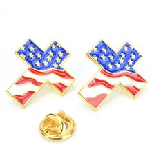 2020 Cross Shape American Flag Enamel Lapel Pin The United State Brooch Patriotic Proudly Jewelry 5pcs waving american flag enamel lapel pin the united state brooch patriotic proudly jewelry