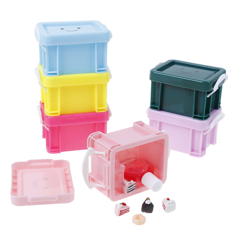 Classic Toy Pretend Play Furniture Toys Accessory  Doll house Miniature Vintage Plastic Suitcase Mini Luggage Box