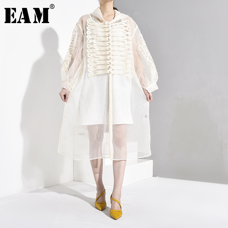 [EAM] Women Organza Split Perspective Long Trench New Hooded Long Sleeve Loose Fit Windbreaker Fashion Spring Autumn 2020 JW7620