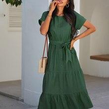 Atuendo verão moda vestido longo para as mulheres vintage sólido verde seda roupas femininas causal boêmio sexy macio de cintura alta robe