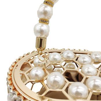 Pearl Beaded Evening Bucket Diamond Clutch  3