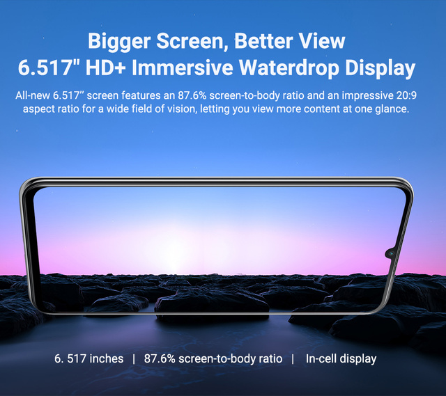 """Blackview A70 Android 11 Smartphone 6.517"""" Display SC9863 Octa Core 3GB ROM+32GB ROM 5380mAh 13MP Rear Camera 4G Mobile Phone 4"""