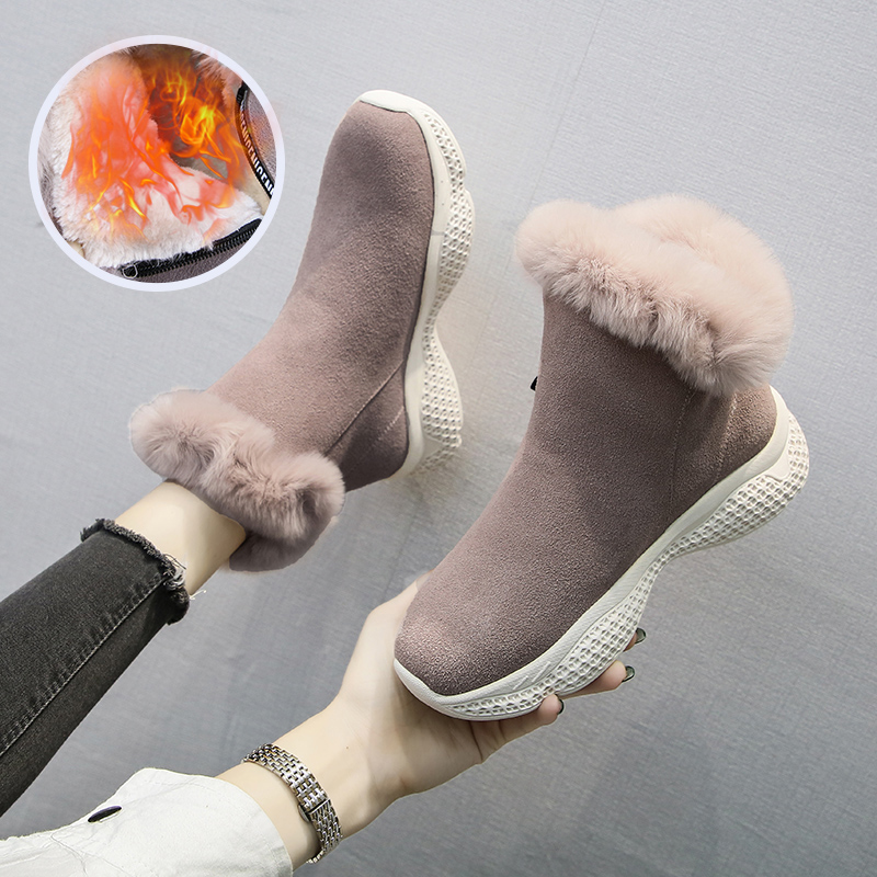 Winter Women Boots Suede Platform Sneakers Warm Plush Ankle Snow Boots Fashion Zipper Sport Running Shoes Solid Winter Shoes 32