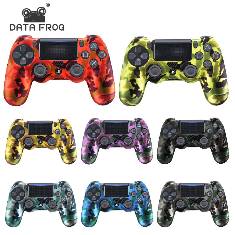 DATA FROG Camouflage Silicone Rubber Gel Skin For Sony PS4 Slim/Pro Controller Cover Protective Case For PS4 Wireless Controller(China)