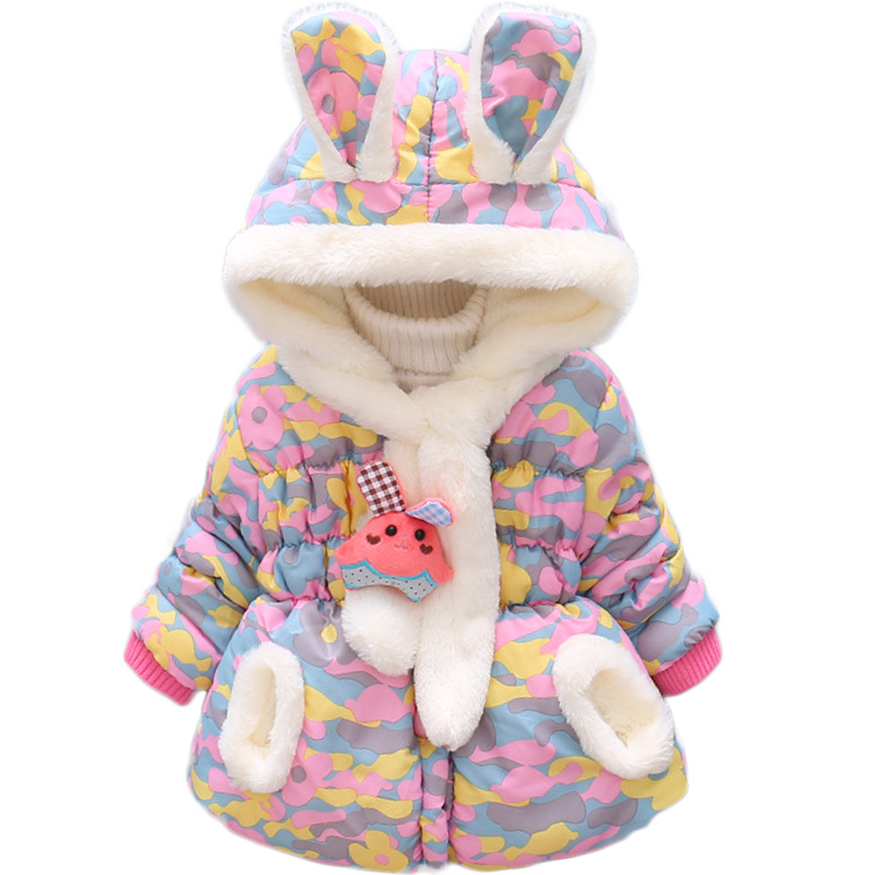 Bibihou Winter Cute Rabbit Baby Jacket Thick Cotton-Padded Baby Girl Outerwear Infant Baby Boys Parka Toddler Girls Snow Wear 3