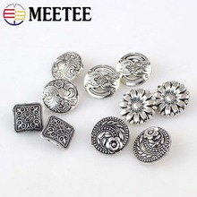 20 pcs/lot  Metal Shanked Buttons Pattern Engraved Silver Tone Jeans Sewing Scrapbooking Crafts