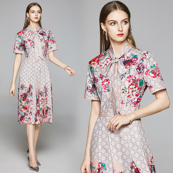 Merchall Runway Summer Dress Womens bow Neck Floral Midi robe femme Holiday Party Vestidos ete 2020