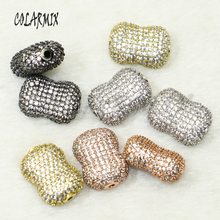 5 pieces peanuts pendants micro pave mix colors zircon beads accessories for women crystal charm 50159