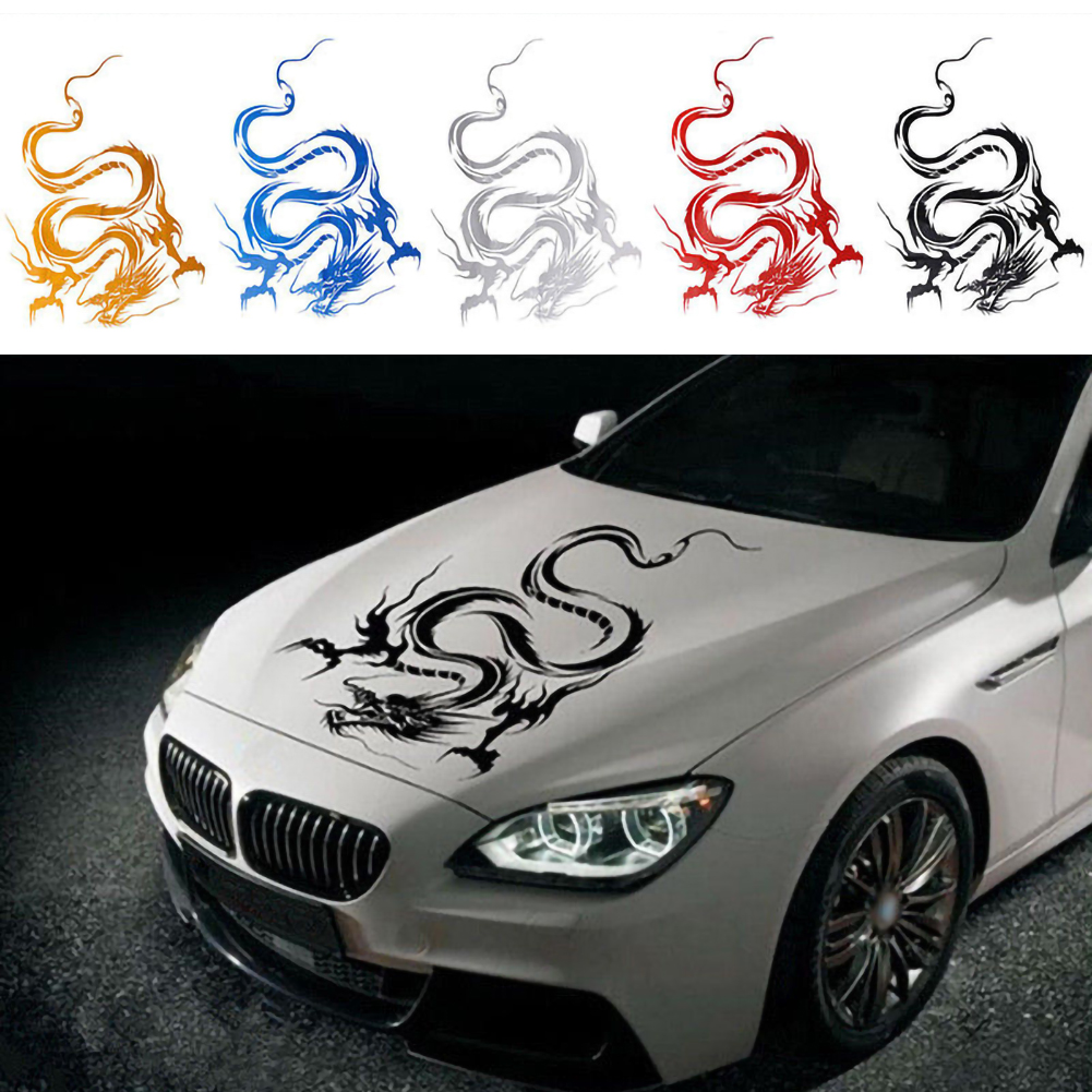 1pc Car Hood Body Graphic Wrap Sticker Decal Dragon Black Racing Sport Reflect
