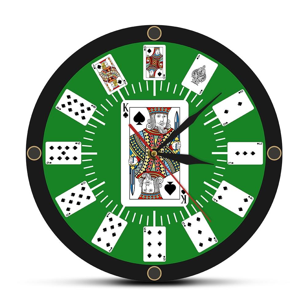 Spade Playing Cards Texas Hold 'em Inspired Modern Wall Clock Poker Bridge Wall Watch Casino Game Room Wall Decor Gambler Gift