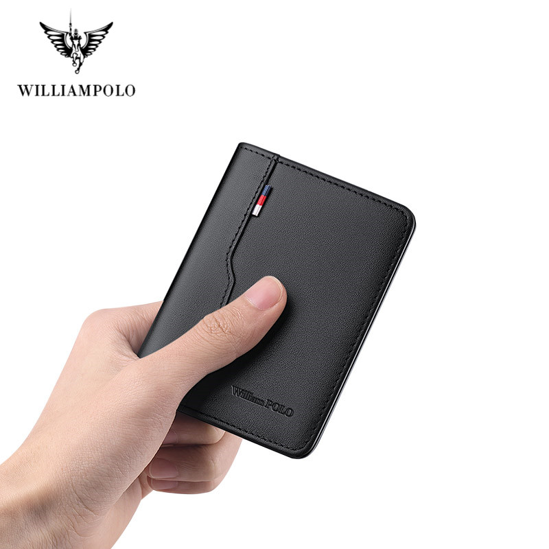 Williampolo Men's Slim Wallet Genuine Leather Mini Purse Casual Design Bifold Wallet Brand Short Slim Wallet Full Grain Leather