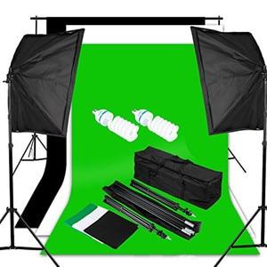 Студийный набор софтбоксов для непрерывного освещения, набор для фона, софтбокс, фоны (черный, белый, зеленый), поддержка фона, Портативная с...