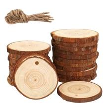 Практичный бутик 50 шт. кусочки натурального дерева ремесло деревянный набор незавершенный предварительно Просверленный с отверстием деревянные круги отлично подходит для искусства и Cr