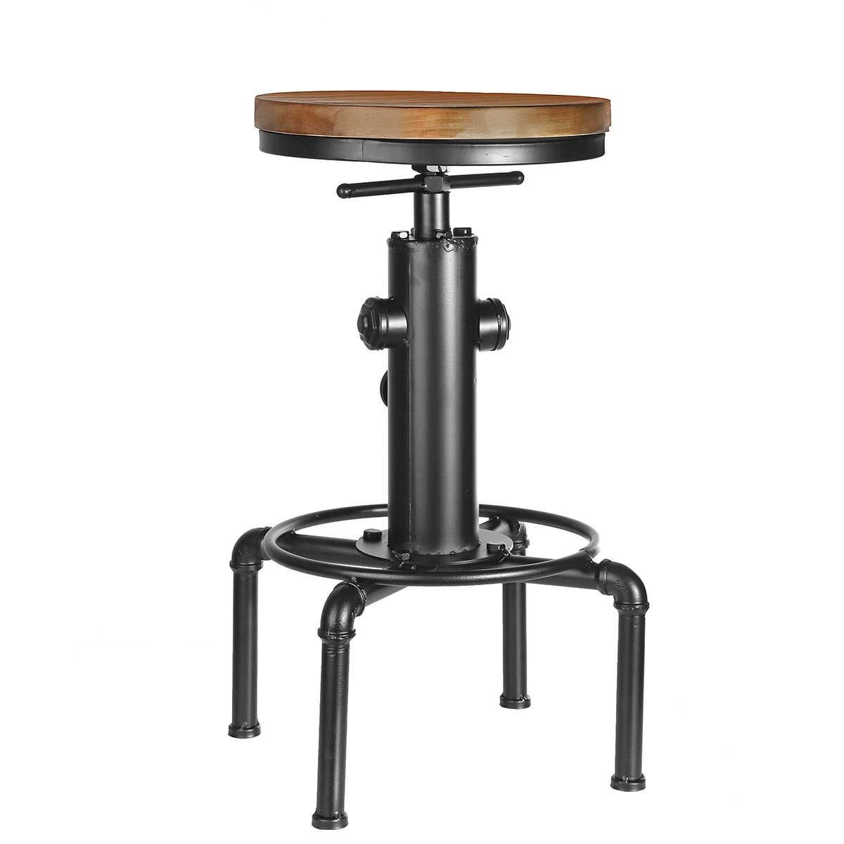 Винтажные металлические промышленные барные стулья с регулируемой высотой, вертлюг из соснового дерева, верхнее кухонное обеденное кресло, стиль трубы, барный стул, барные стулья