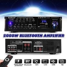 강력한 2000W 110V 220V 블루투스 4ohm 스테레오 오디오 파워 HiFi 앰프 가라오케 앰프 + RC 지원 2 마이크 FM 파워 앰프