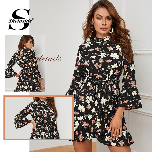 Casual Floral Print Ruffle Hem Wrap Dress Women