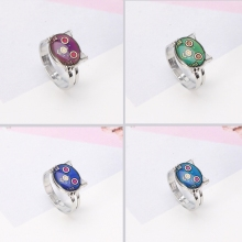 Cute Kitten Cat Mood Ring Temperature Emotion Feeling Rings Adjustable For Women