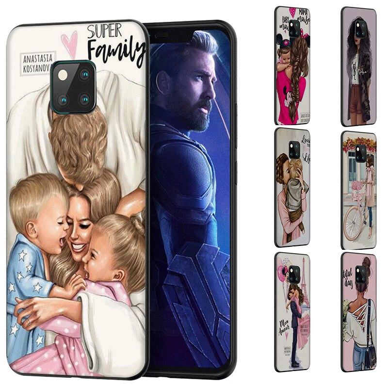 Silikon telefon kılıfı için Huawei onur Mate10 20 30 Pro Lite kapak kahverengi saç bebek anne