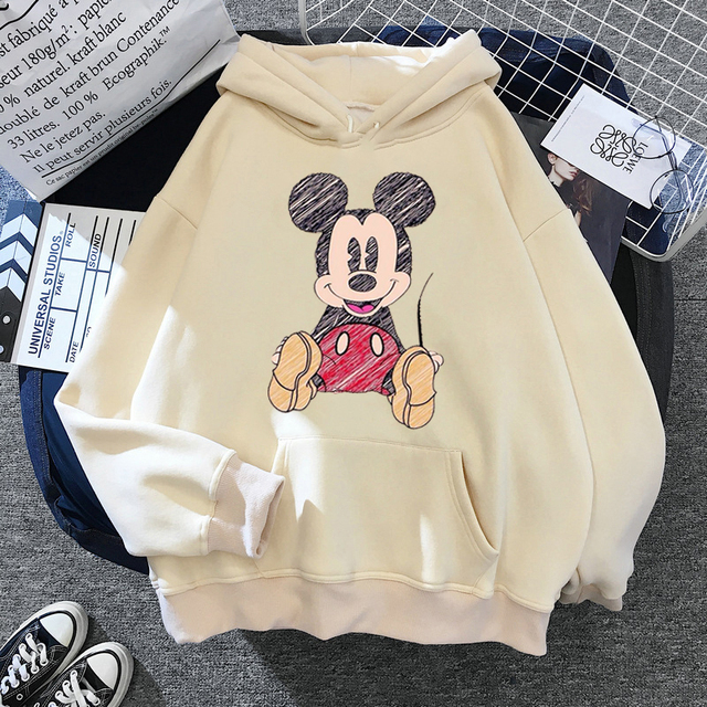 Disney 2021cartoon print sweatshirt women Funny hip hop Mickey Mouse print autumn and winter fashion Harajuku style hoodie women 2