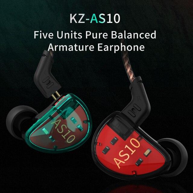 Kz AS10 Hoofdtelefoon 5BA Balanced Armature Driver Hifi Bass Koptelefoon In Ear Monitor Sport Headset Noise Cancelling Oordopjes