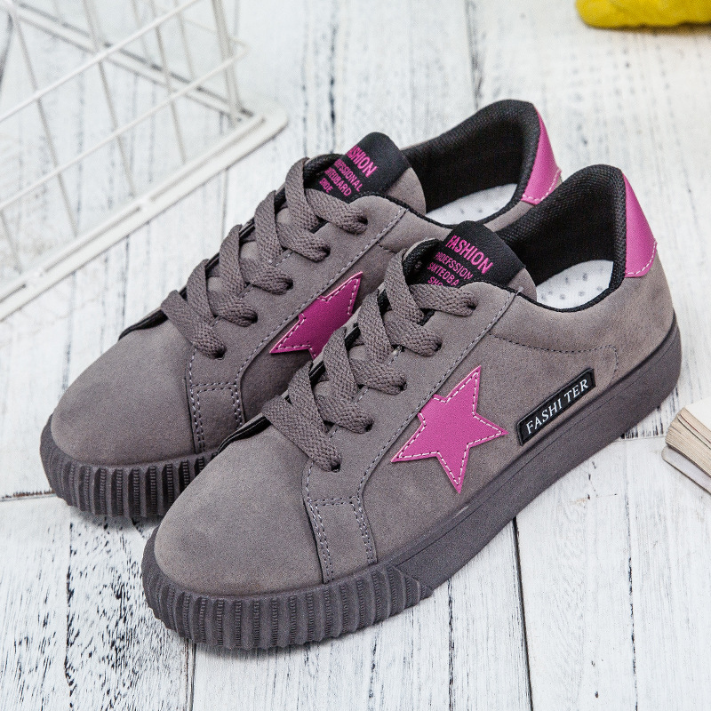 Plus Size 4.5-10.5 Casual Sneakers Ladies Suede Shoes Women Sport Shoes Sweet Girls Sneakers 2019 New Arrival