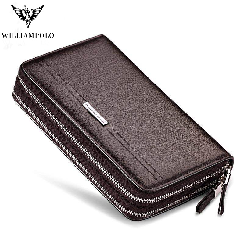 2019 Men Wallet Clutch Vintage Genuine Leather Williampolo brand Wallets Handy Bags Business long Wallets bag Handy Purse PL163