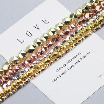 WLYeeS граненые круглые гематитовые бусины 3, 4, 6, 8 мм из розового золота, бусины из натурального камня для изготовления ювелирных браслетов сво...