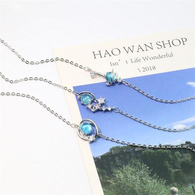 Unique mémoire bleu cristal fantaisie planète univers étoiles 925 argent Sterling femme redimensionnable Bracelets SBR202