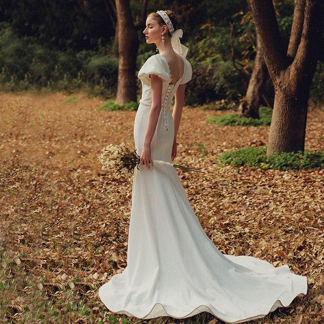 Elegant Sweetheart Collar Short Puff Sleeve Mermaid Bride Dress Simple Backless Slim Bandage Little Trailing Wedding Party Gown 4