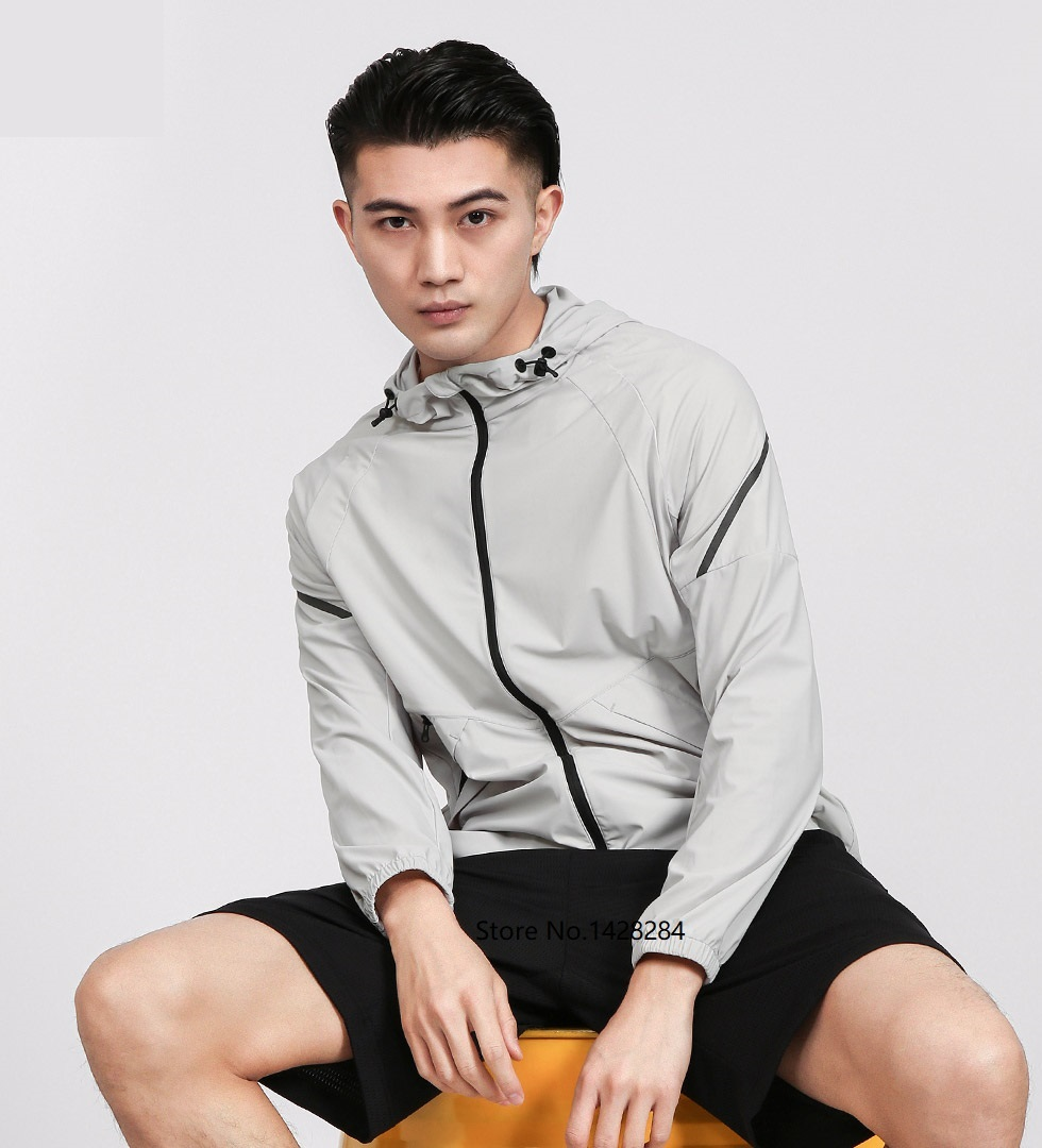 NEW Uleemark Men's Stretch Lightweight Sports Jacket High Elastic Fabric Reflective Design Sports Trench Coat Breathable